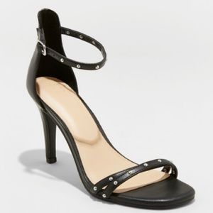 A New Day ENYA Black Stud Heel Strap Sandal 8.5